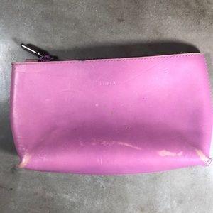 Furla Pink Leather Makeup Bag